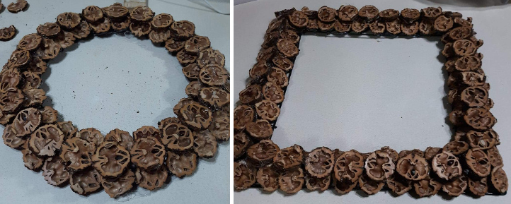 Wreath and picture frame made from walnut shells